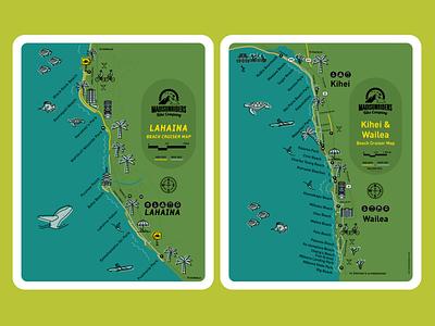 Beach Cruiser Maps map illustration illustration print design branding design