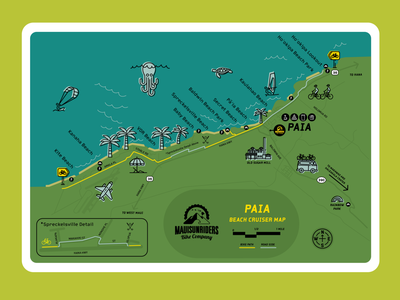 Paia Bike Cruiser Map map illustration vector print design branding design illustration