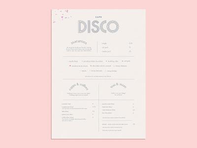 Cafe Disco - Menu disco cafe pink macarons bakery menu brand exploration branding concept branding design