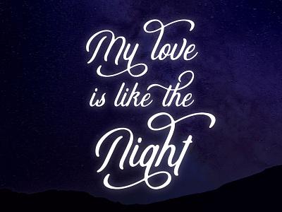 Like the Night - Moonbeau lyrics typography
