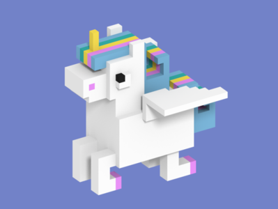 Magic Unicorn In Voxel Art