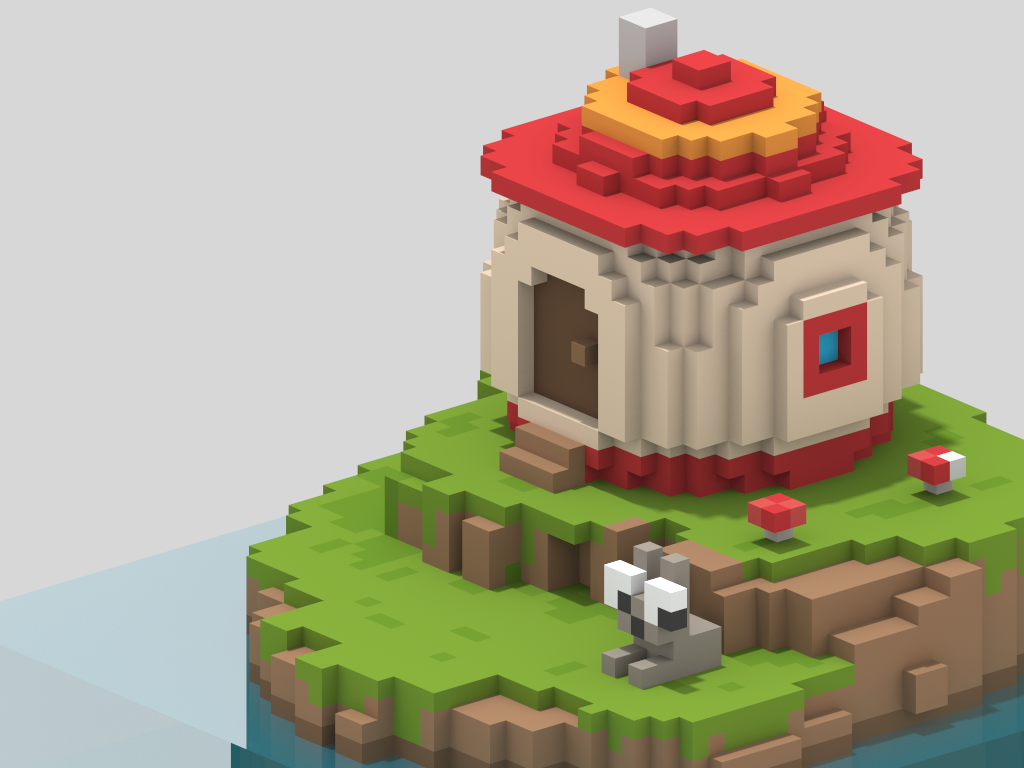 Mush House - Voxel Art cubic cubicle voxel character magicavoxel voxelart isometric illustration 3d