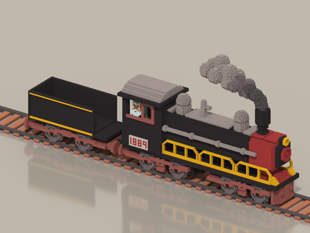 Old Aged Steam Train old man travel transport old train character voxel isometric voxelart magicavoxel illustration 3d