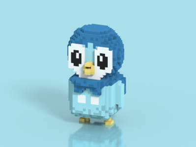 Piplup - Pokemon in Voxel Art pokemon go artist cute cubic pokemon 3d illustration voxelart character isometric voxel magicavoxel