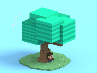 Relax characterdesign cute cubic voxel character isometric illustration voxelart magicavoxel 3d