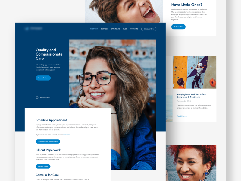 Home page for a dental clinic website homepage ux color ux design ui dental clinic design web webdesign