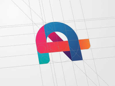 """A"" Logomark  a logo mark gradient flat construct lines geometric circles guides"