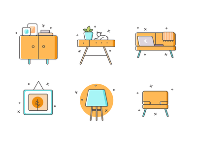 Free Furniture Icons Set invite first shot hello dribble hellodribbble dribbble freebie free firstshot web flat vector icon illustration