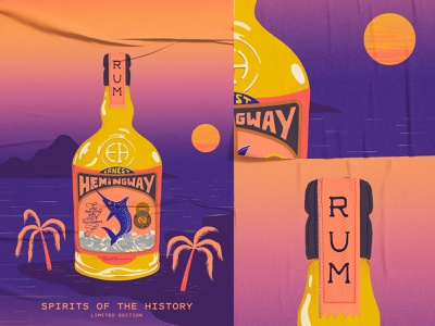 Spirits of the History hemingway mojito cocktail screen print limited edition rum bottle label procreate textures poster typography illustration