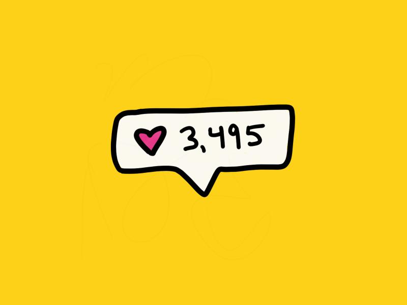 Plz like me ❤️ hoby counter social media yellow heart likes