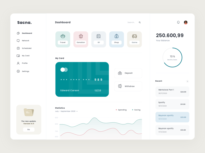 Sacna Dashboard progress wallet web app menu statistics icon clean credit card payment app dashboard