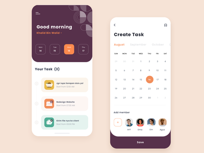 Task App event design create clean orange pattern ui dashboad calendar app schedule task