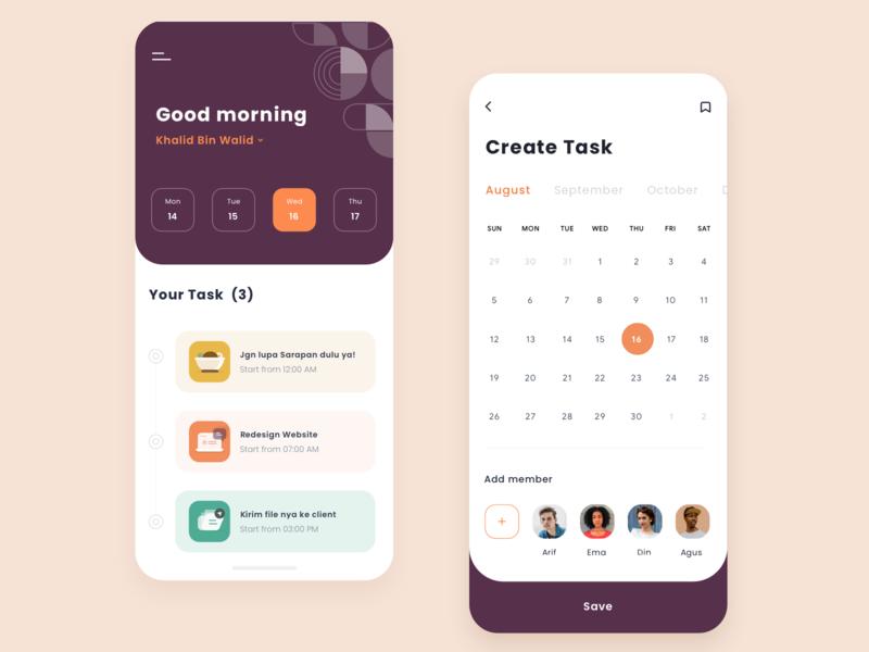 Task App event design create clean orange pattern ui dashboad calendar app schedule task