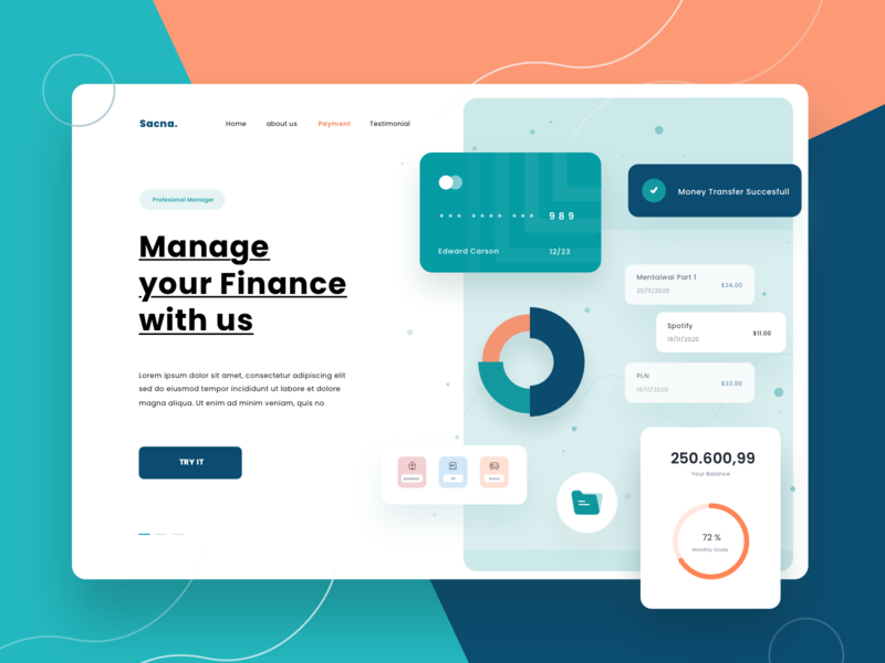 Landing Page Exploration visual ux wallet header creditcard color ui finance payment chart website landing page app dashboard