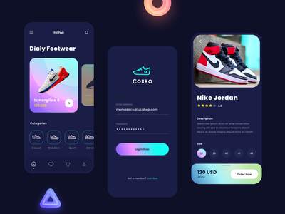 Shoes App nike login icon dashboard ui ios gradient dark shoes app shoes app