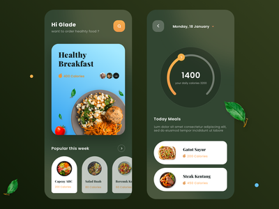 Healthyfood App dashboard list calories green progressbar chart diet ios ui blur dark food app food