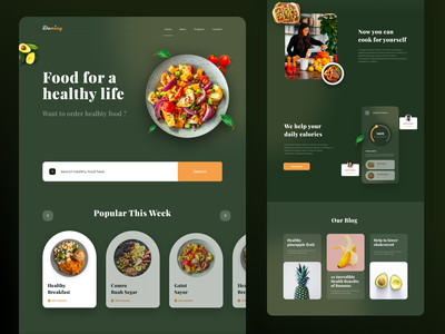 Healthyfood Landing Page receipts chart dashboard layout website clean green food app diet food ui landing page