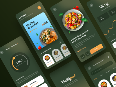 Healthyfood App Concept list icon food and drink diet app statistic ui chart dashboard food app
