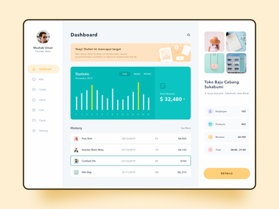 Business Dashboard clean simple bar green yellow menu sketch history detail page profile statistics illustrations icon app dashboard