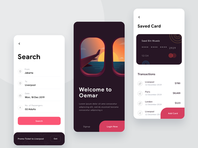 Flight ticket App credit cards payment search illustrations ui login onboarding dashboard credit card app plane filght ticket