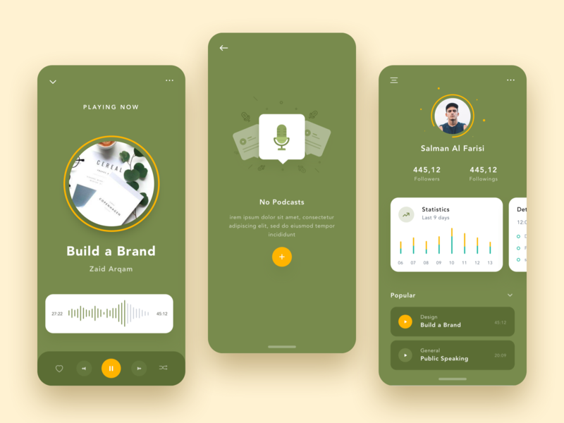 Podcast App ui clean icon green profile playlist podcast ios illustrations dashboard app