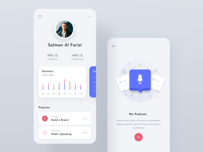 Podcast App - Light Version clean light ios app statistic icon illustrations podcast ios