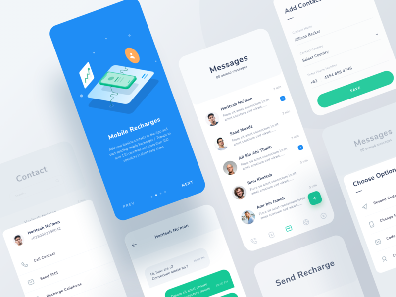 Hablax App dashboard clean form icons illustration messages call chat ios ui app