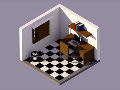 Low Poly Room blender room lowpoly