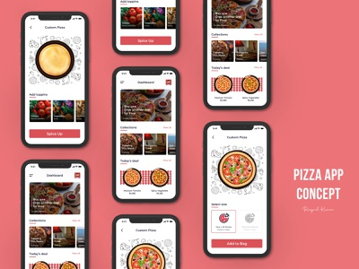 Pizza App UI Design casestudy mobile app mobile app design microinteraction animation mobile illustration app design ux ui