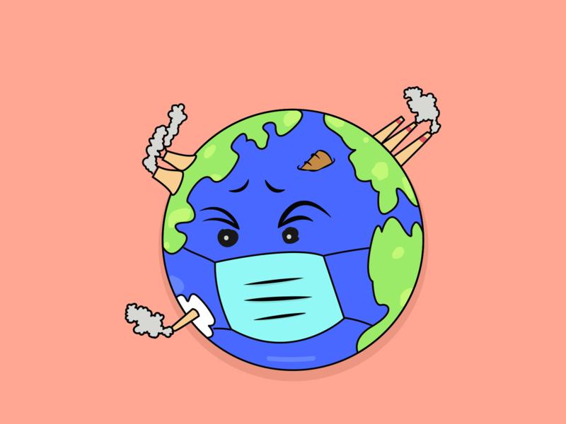 Earth earthday concept vector illustration vector pollution mask earth corona