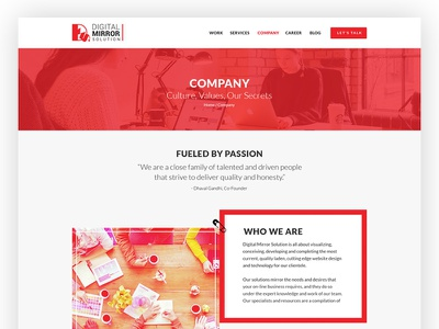 Dms Company solution page layout profile company website digital