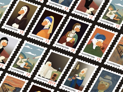 《FAMOUS PAINTING BOBO》 postage stamp design illustration