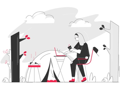 Work close to nature art background camping laptop chair cap tent mobile girl trees camp ui design sketching line art illustration art illustration character illustration character adobe illustrator