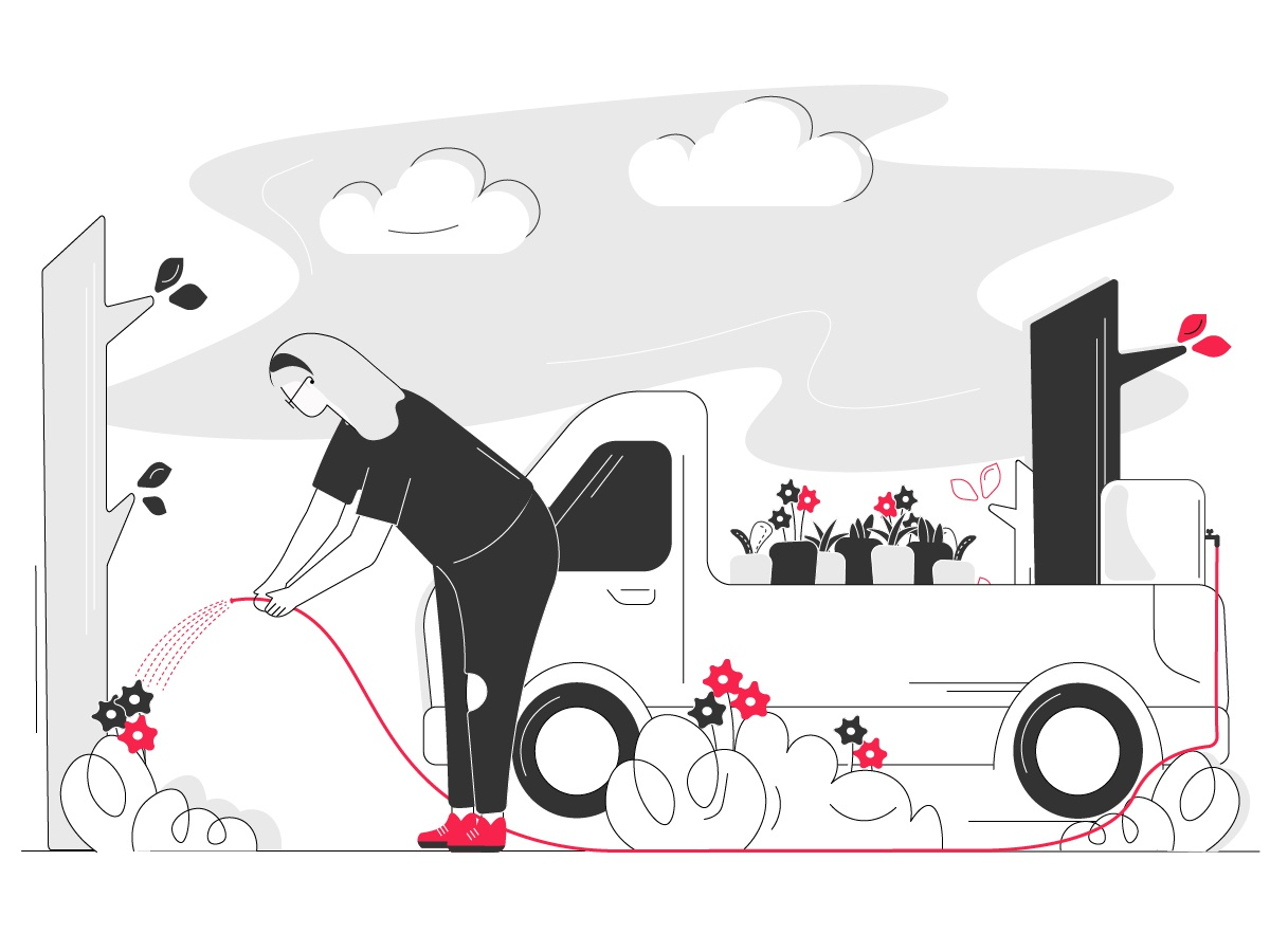 Helping myself by helping plants.. art clouds sky linework lineart background ui save earth trees truck watertank plants girl sketching illustration illustration art design character illustration character adobe illustrator