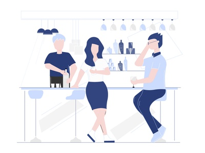Ugh!!! such a hectic day minimal uiux glasses ui art background sketching illustration art illustration design character illustration chairs table lights beer bar women man character adobe illustrator