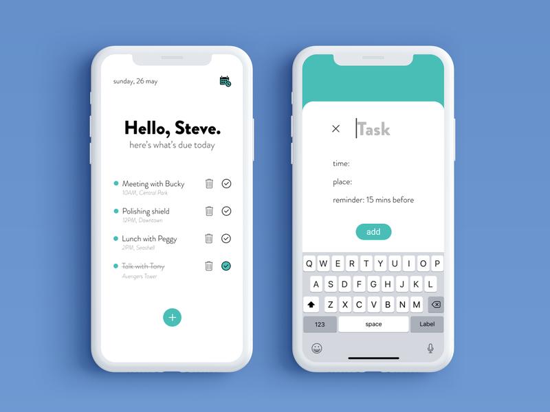 Minimal To-do App Concept ui design ux minimal flat design ios iphonex illustration app ui todolist todo app ui todo