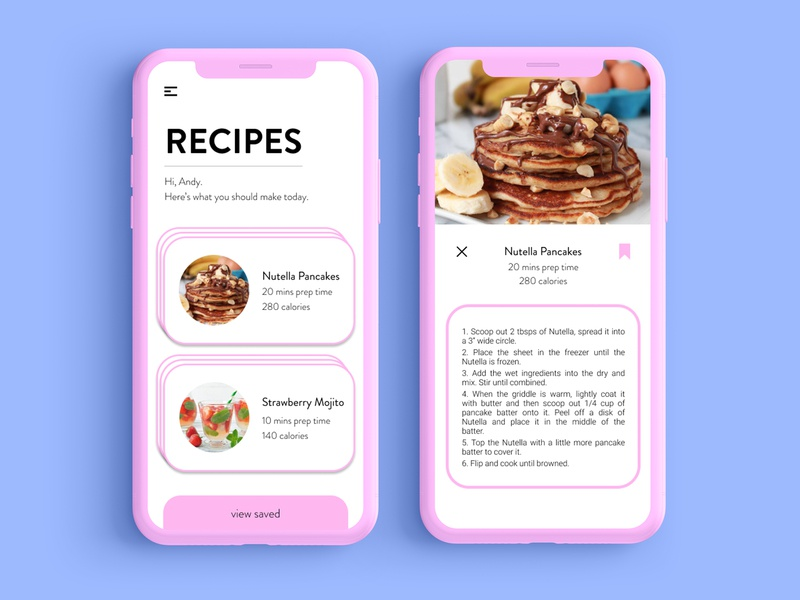 Recipe App Mockup app ui design illustration ux minimal food app flat design ui iphonex ios app ui