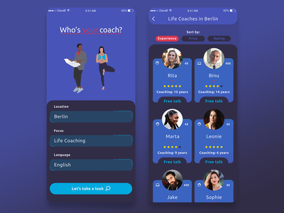 Who's Your Coach app finder list sort xd interface design iphone illustration ui design personal coach android ios app data base search community finding business coach life coach coaches coach