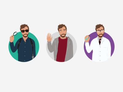 Detective, Designer, Scientist illustration alter ego product designer inventor scientist designer detective