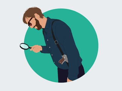 Me as a detective investigate ux design detective illustration