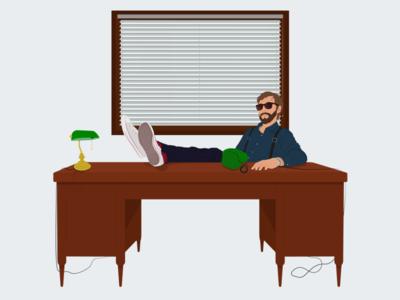 Private Investigator Office gun for hire ux design illustration office private investigator private detective