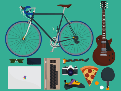 Some of my favorite things ping pong paddle 35mm film bouldershoe canon ae1 samsung s8 commodore 64 ray ban clubmaster macbook les paul guiter bicycle illustration