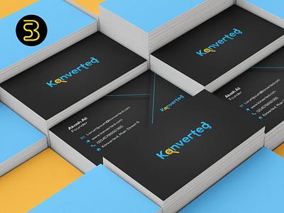Konverted Business Card Design creative artwork designer tech search mark type card new company identity brand business art vector startup minimal logo design branding