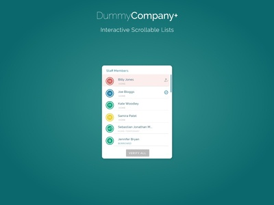Interactive Scrollable Lists | DummyCompany+