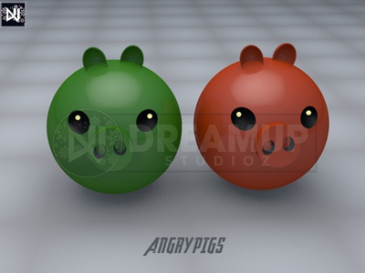 Angry Pigs poster game app design photoshop degital c4d