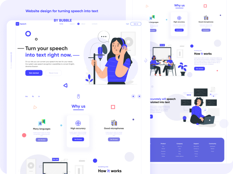 Website design for turning speech into text designs speechbubble texture into speech bubble blue ui awesome design abstract figma awesome dribbble design