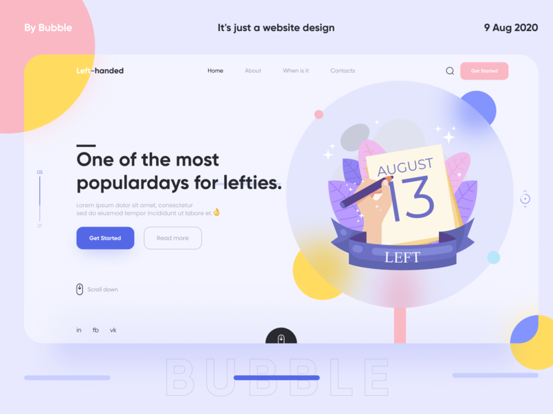 Website design for left-handers day bubble blue awesome design ui abstract figma awesome dribbble design left-handed