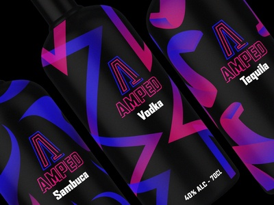 Amped spirits UV reactive bottle packaging design spirits illustration branding photoshop adobe uv pattern label design lable bottle mockup bottle design bottle bottle label packaging design packaging logo design logo graphic designer graphic graphic design