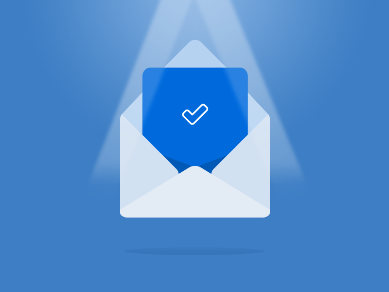 Thou hath submitted successfully!  blue envelope check mark illustration icon submit submission