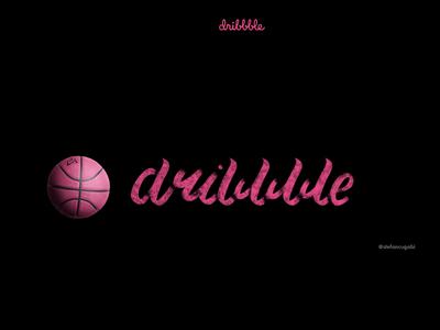 Handmade Logo Dribbble brush pink dribbble basketball lettering typography design